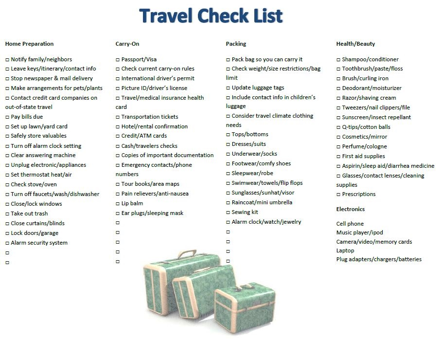 Travel Check List Happy Cruisers Inc Florida